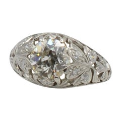 Art Nouveau 1930s 1.65 Carat Old European Mine Cut Diamond and Platinum Ring