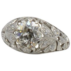 Art Nouveau 1930s 1.65 Carat Old European Mine Cut Diamond and Platinum Ring