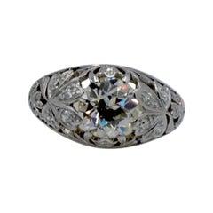 Art Nouveau 1930s 2.0 Carat Old European Mine Cut Diamond and Platinum Ring