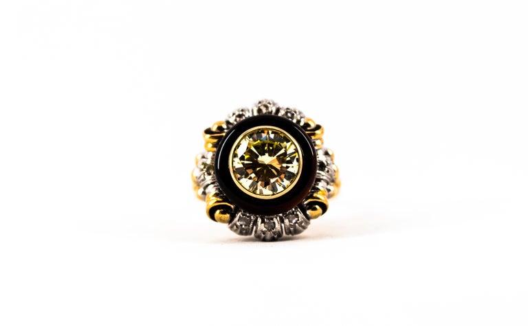 Art Nouveau 1.99 Carat White Diamond Onyx Yellow Gold Cocktail Ring For Sale 6
