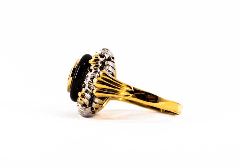 Art Nouveau 1.99 Carat White Diamond Onyx Yellow Gold Cocktail Ring For Sale 8