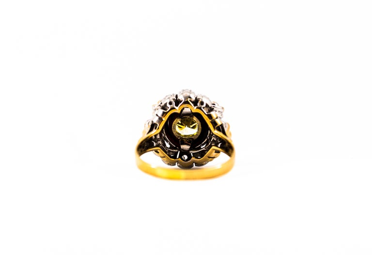 Art Nouveau 1.99 Carat White Diamond Onyx Yellow Gold Cocktail Ring For Sale 9