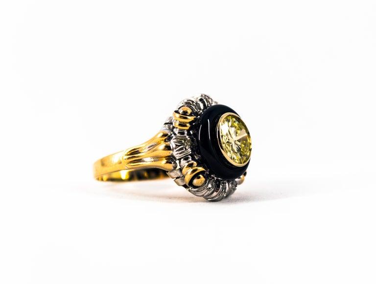 Art Nouveau 1.99 Carat White Diamond Onyx Yellow Gold Cocktail Ring For Sale 11