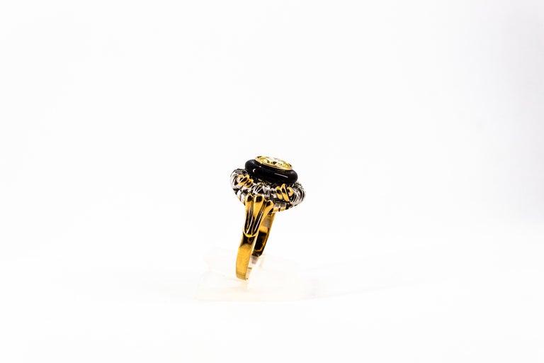 Art Nouveau 1.99 Carat White Diamond Onyx Yellow Gold Cocktail Ring For Sale 3