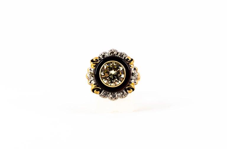 Art Nouveau 1.99 Carat White Diamond Onyx Yellow Gold Cocktail Ring For Sale 5