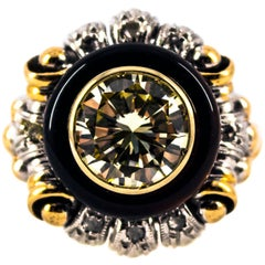 Art Nouveau 1.99 Carat White Diamond Onyx Yellow Gold Cocktail Ring