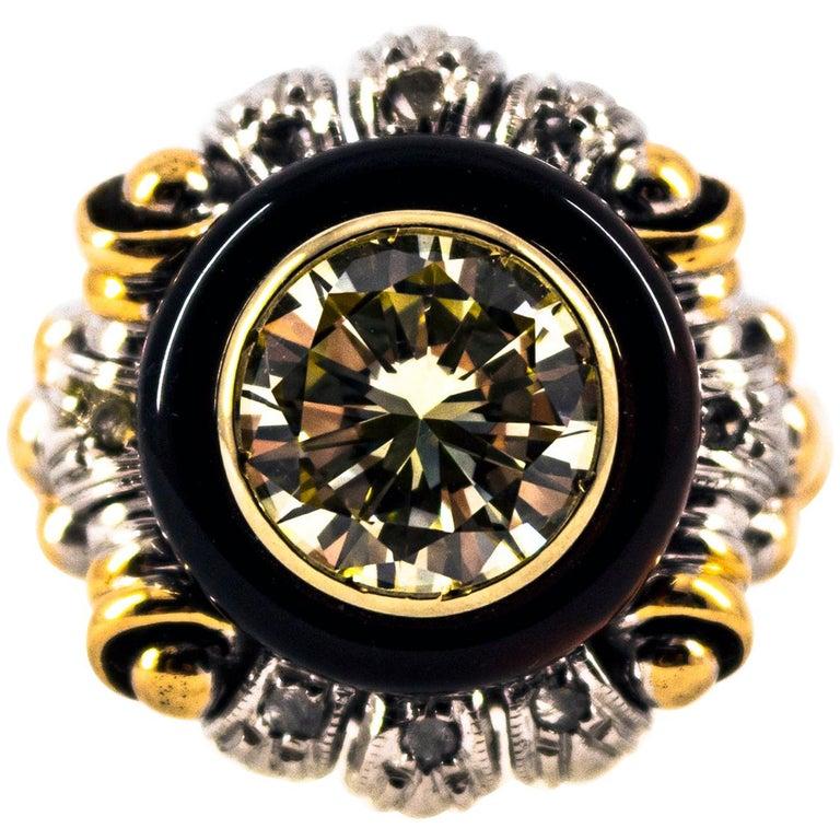 Art Nouveau 1.99 Carat White Diamond Onyx Yellow Gold Cocktail Ring For Sale
