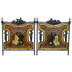 Art Nouveau 19th Century Italian Hand Painted Iron Double Bed