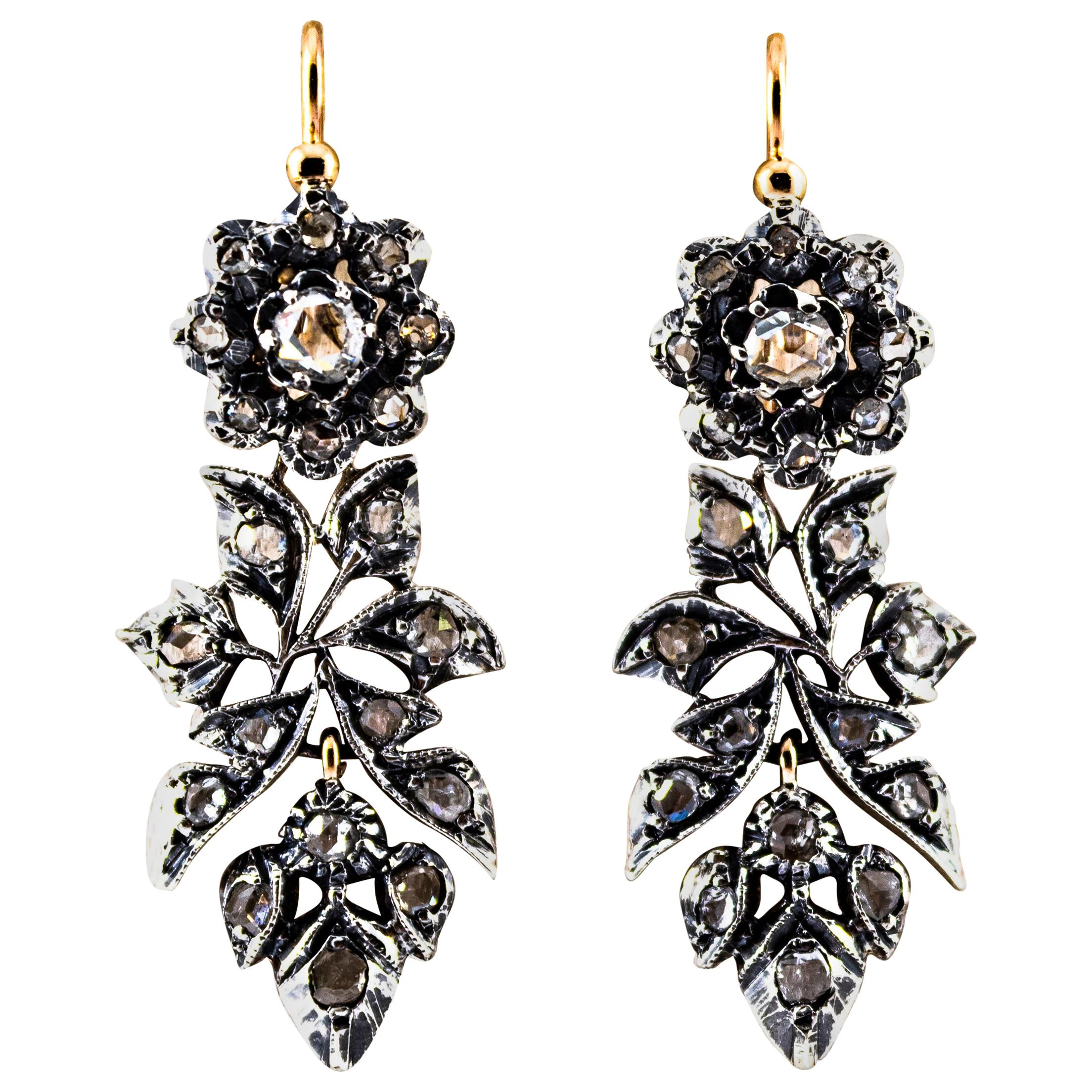 Art Nouveau 2.00 Carat White Rose Cut Diamonds Yellow Gold Lever-Back Earrings