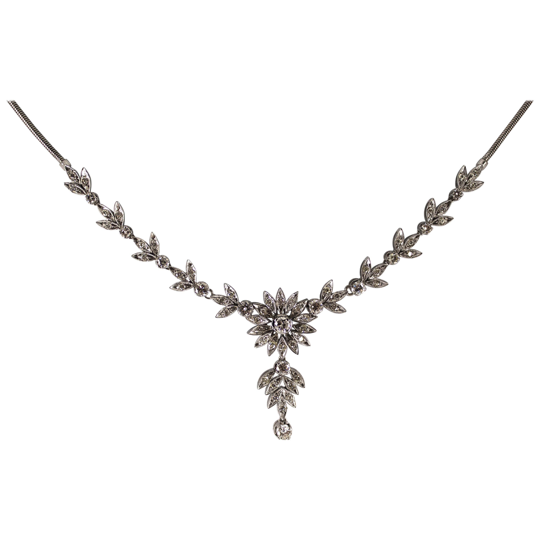 """Art Nouveau 2.20 Carat White Diamond White Gold """"Flower"""" Necklace"""