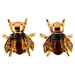 "2.24 Carat Diamond Citrine Yellow Gold Stud Dangle ""Bees"" Earrings"