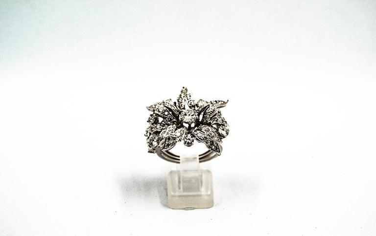 Women's or Men's Art Nouveau 2.25 Carat Modern Round Cut Diamond White Gold Cocktail Flower Ring For Sale