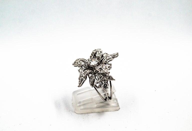 Art Nouveau 2.25 Carat Modern Round Cut Diamond White Gold Cocktail Flower Ring For Sale 1