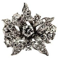 Art Nouveau 2.25 Carat Modern Round Cut Diamond White Gold Cocktail Flower Ring