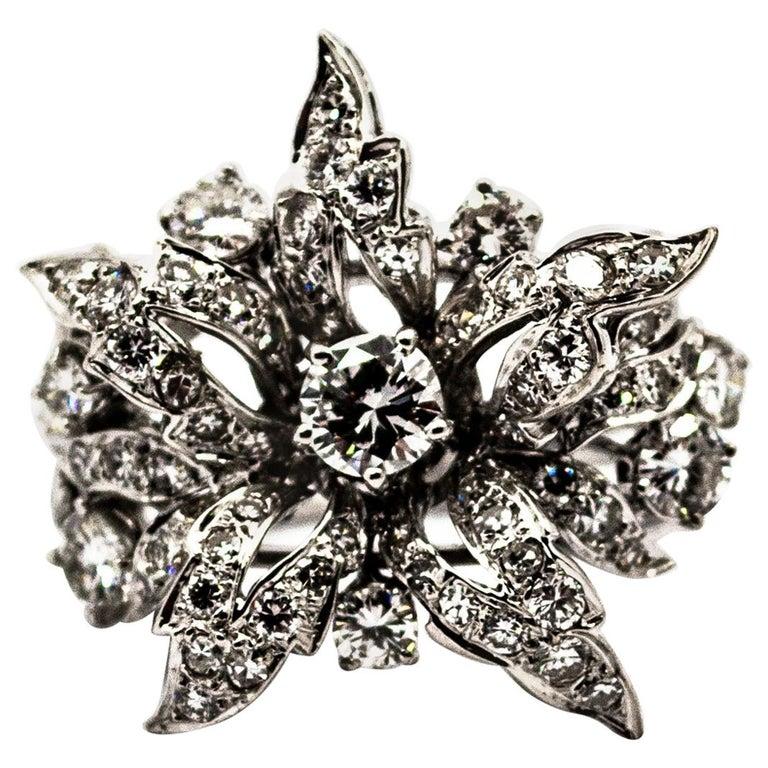 Art Nouveau 2.25 Carat Modern Round Cut Diamond White Gold Cocktail Flower Ring For Sale