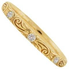 Art Nouveau 2.25 Total Carat Old Mine Cut Diamond Repousse Bangle Bracelet
