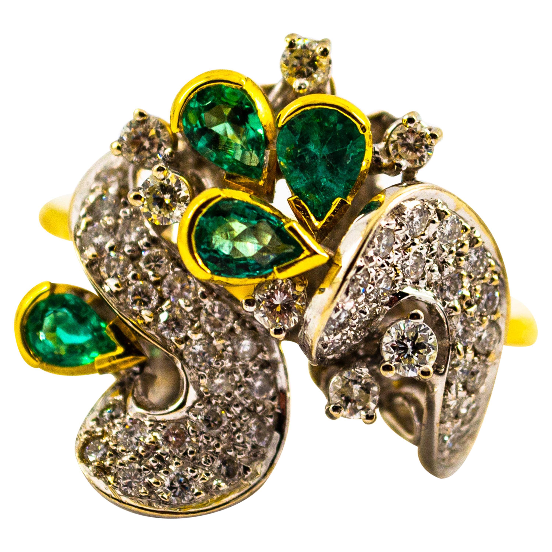 Art Nouveau 2.50 Carat White Diamond Emerald Yellow Gold Cocktail Ring
