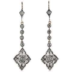 Art Nouveau 2.90 Carat Diamond Long Drop Earrings, circa 1900