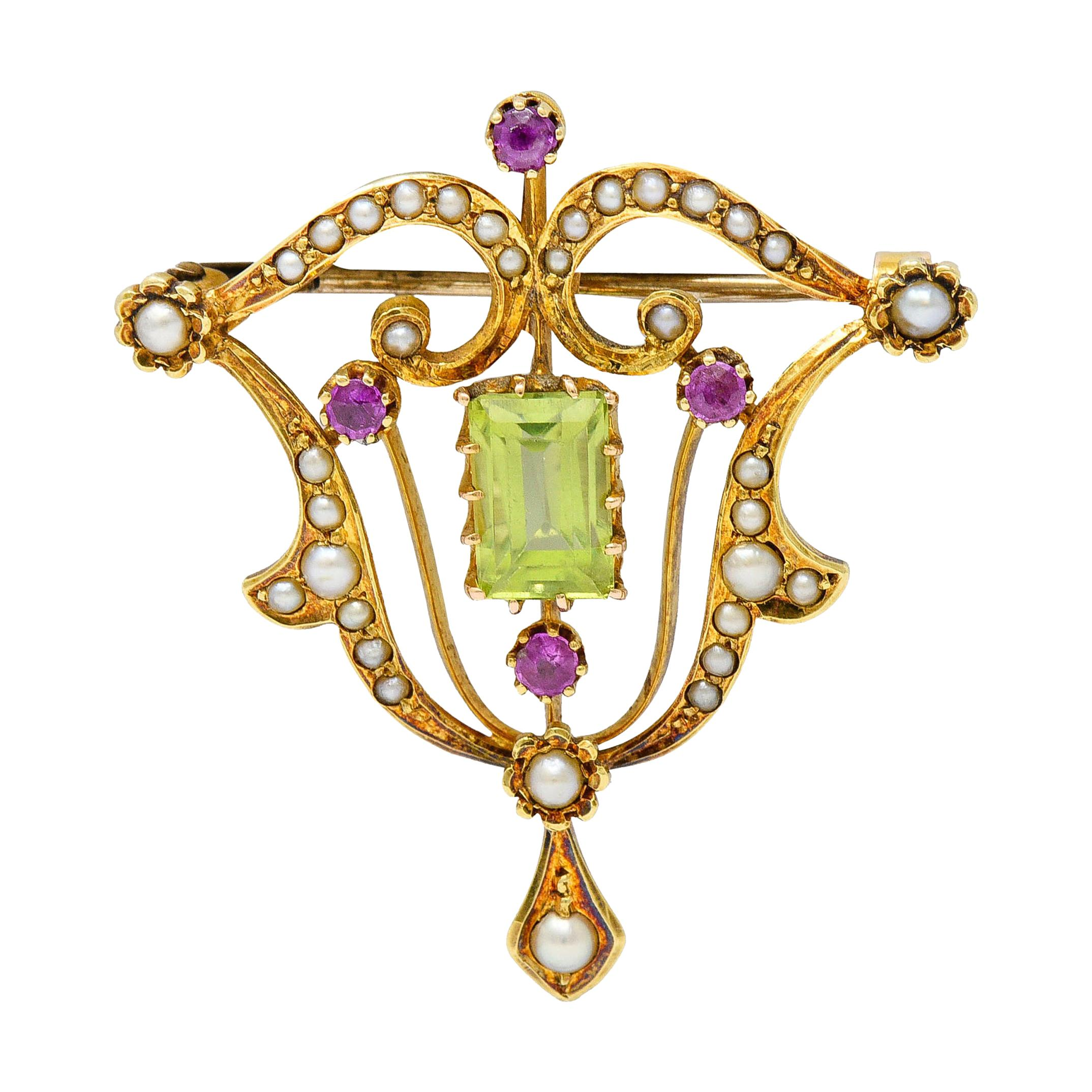 Art Nouveau 2.95 Carats Peridot Ruby Pearl 15 Karat Gold Pendant Brooch