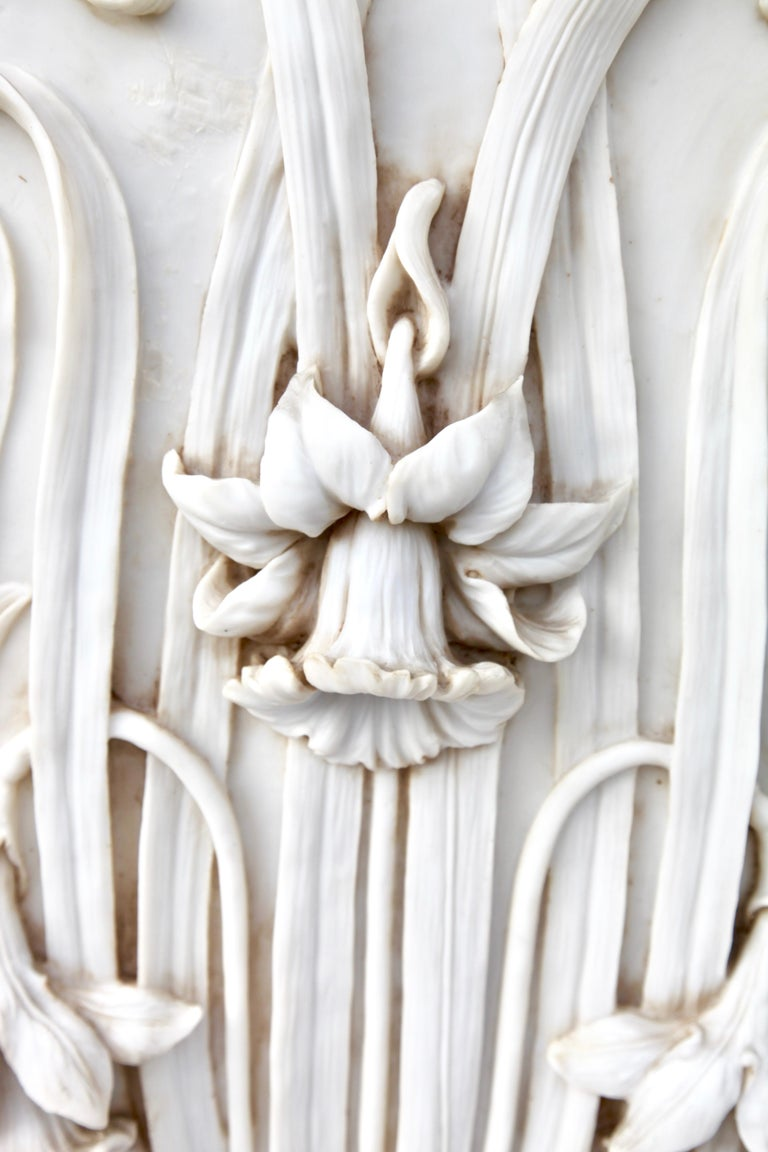 Italian Art Nouveau 3-D Alabaster Sculptural Panel with Foliage and Daffodils / Jonquils For Sale