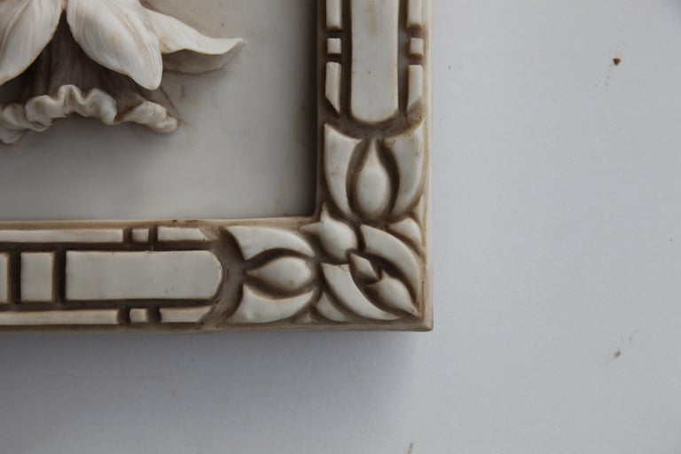 Early 20th Century Art Nouveau 3-D Alabaster Sculptural Panel with Foliage and Daffodils / Jonquils For Sale