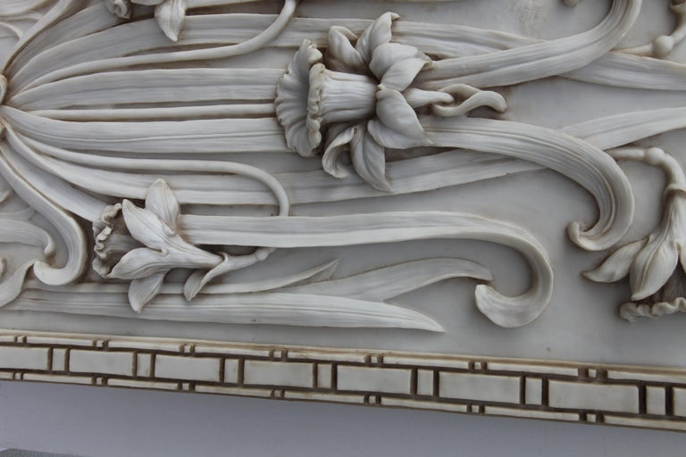 Art Nouveau 3-D Alabaster Sculptural Panel with Foliage and Daffodils / Jonquils For Sale 1