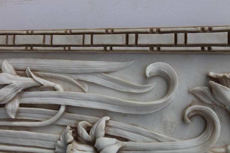 Art Nouveau 3-D Alabaster Sculptural Panel with Foliage and Daffodils / Jonquils For Sale 2