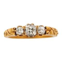Art Nouveau 3 Old Mine Cut Diamonds Floral 18K Yellow Gold Ring