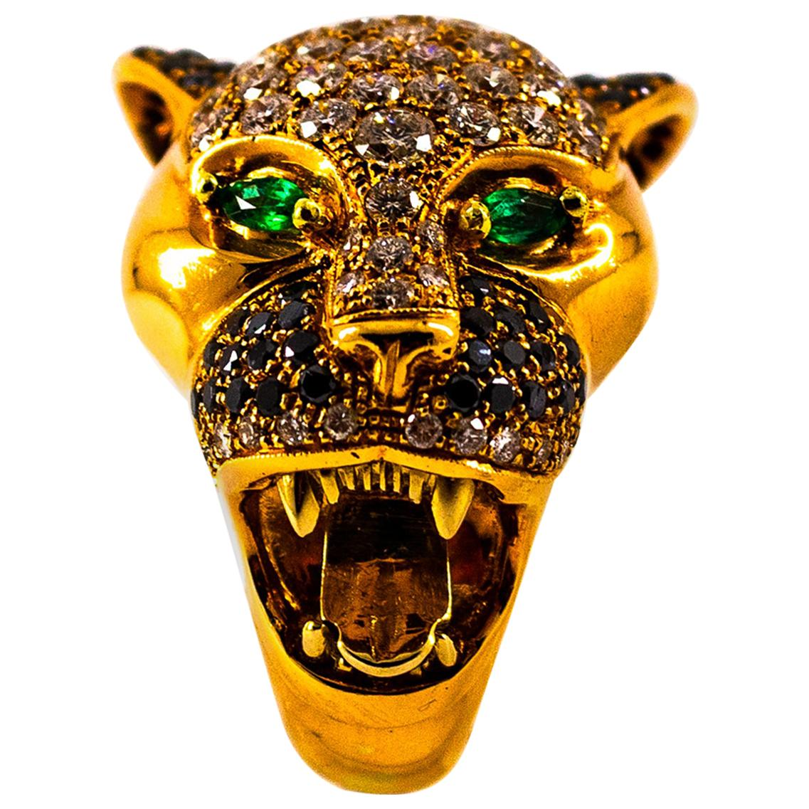 "Art Nouveau 3.70 Carat White Diamond Emerald Yellow Gold ""Tiger"" Cocktail Ring"