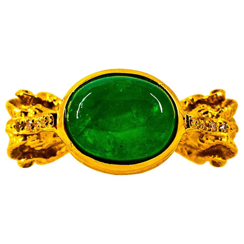 Art Nouveau 4.10 Carat White Diamond Cabochon Emerald Yellow Gold Cocktail Ring
