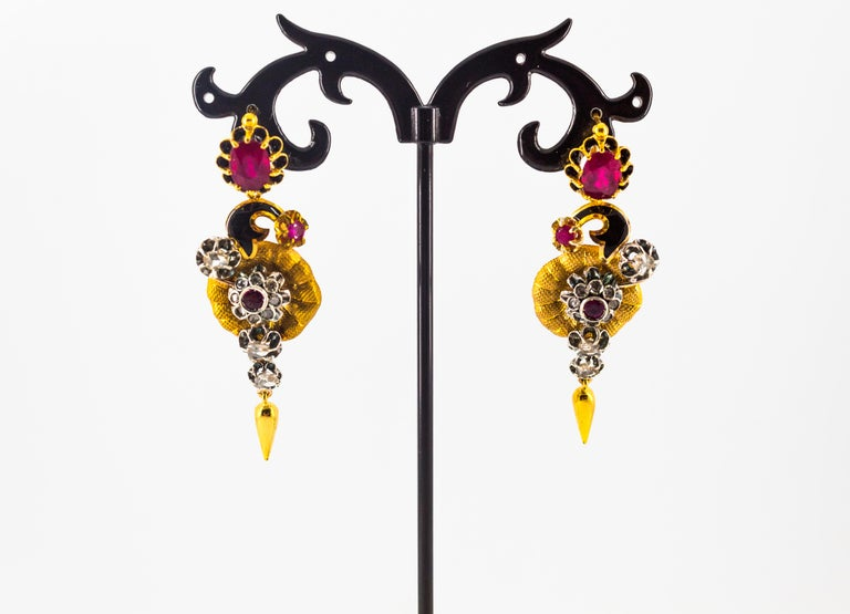 Women's or Men's Art Nouveau 4.10 Carat White Rose Cut Diamond Ruby Yellow Gold Flowers Earrings For Sale