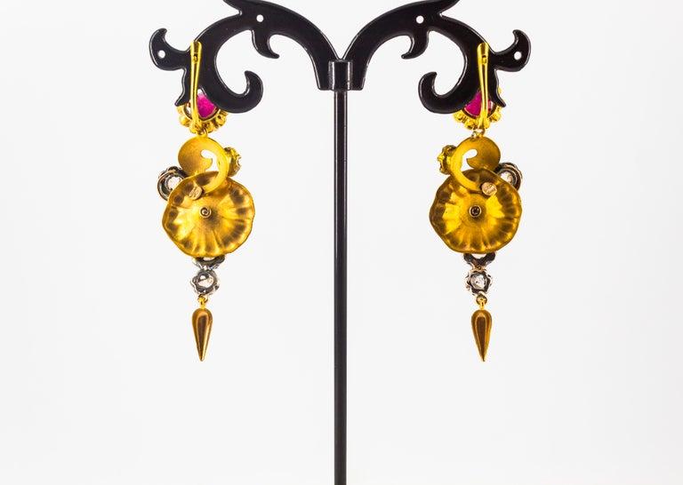 Art Nouveau 4.10 Carat White Rose Cut Diamond Ruby Yellow Gold Flowers Earrings For Sale 2