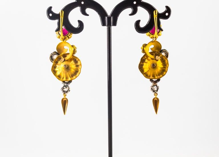 Art Nouveau 4.10 Carat White Rose Cut Diamond Ruby Yellow Gold Flowers Earrings For Sale 3
