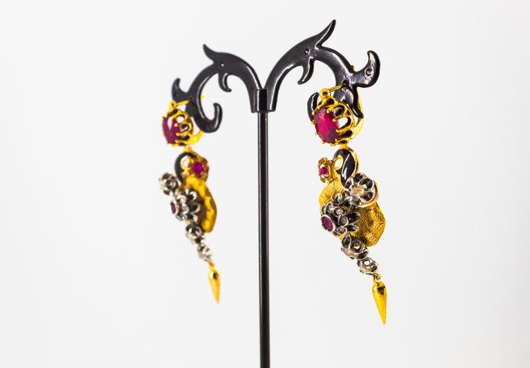 Art Nouveau 4.10 Carat White Rose Cut Diamond Ruby Yellow Gold Flowers Earrings For Sale 4