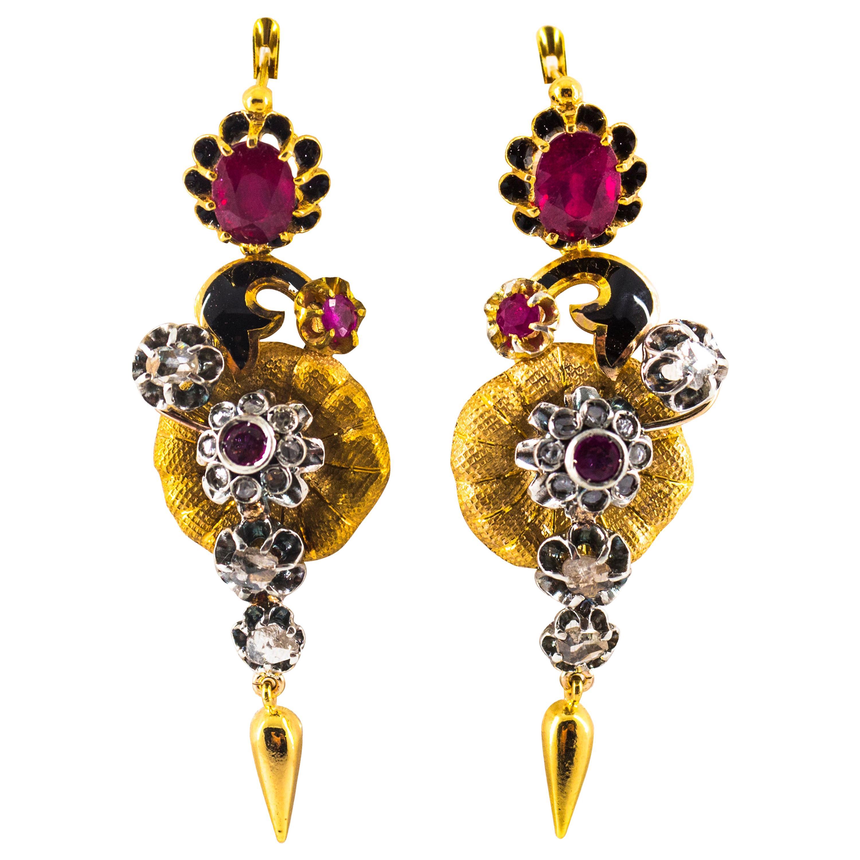 Art Nouveau 4.10 Carat White Rose Cut Diamond Ruby Yellow Gold Flowers Earrings