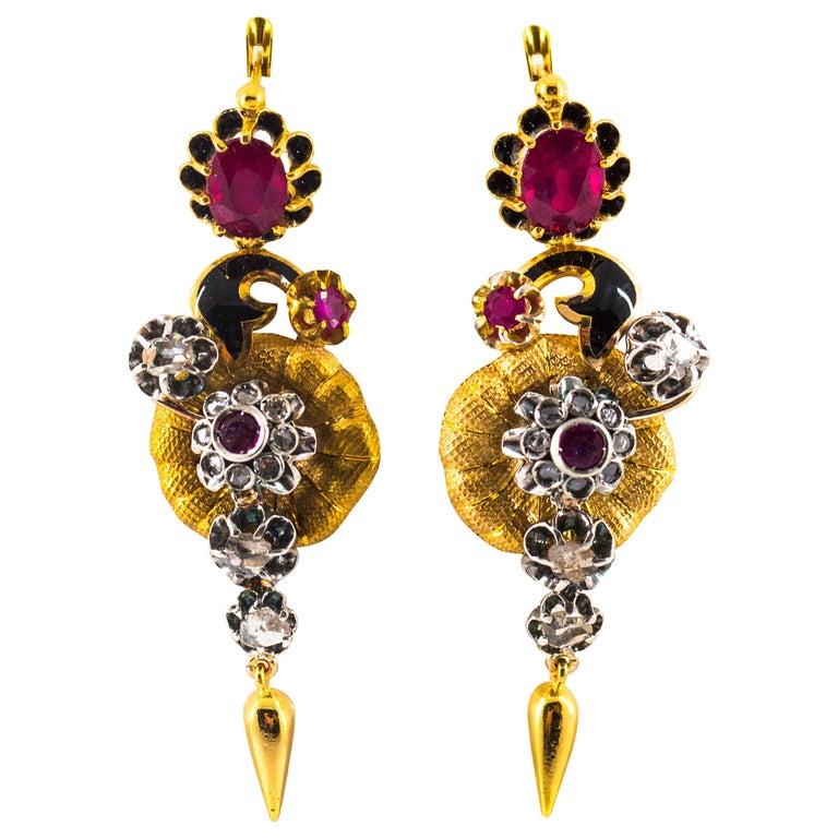 Art Nouveau 4.10 Carat White Rose Cut Diamond Ruby Yellow Gold Flowers Earrings For Sale