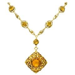 Art Nouveau 45.00 Carat Citrine 14 Karat Gold Foliate Pendant Brooch Necklace