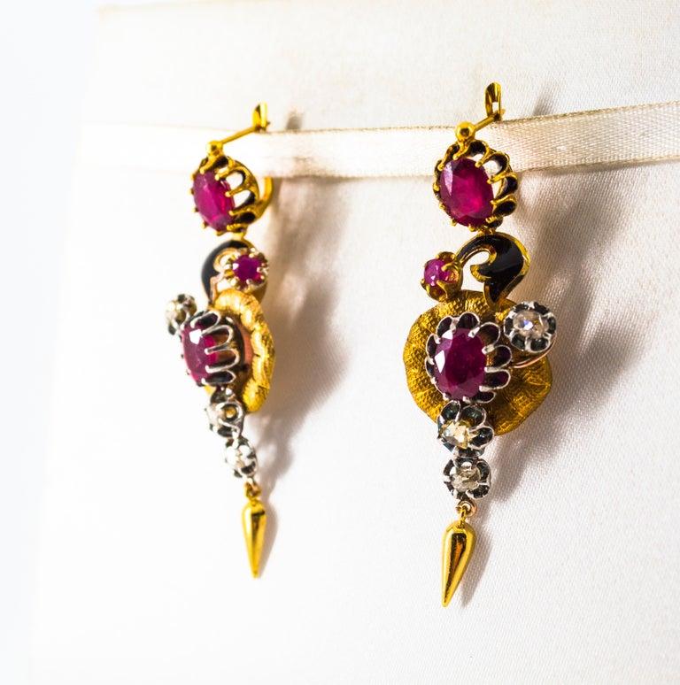 Women's or Men's Art Nouveau 4.90 Carat White Rose Cut Diamond Ruby Yellow Gold Flowers Earrings For Sale