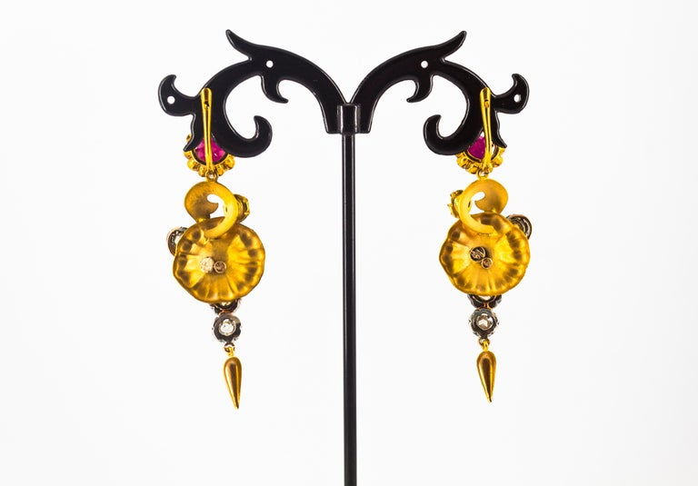 Art Nouveau 4.90 Carat White Rose Cut Diamond Ruby Yellow Gold Flowers Earrings For Sale 3