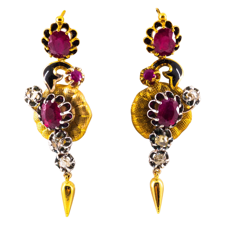 Art Nouveau 4.90 Carat White Rose Cut Diamond Ruby Yellow Gold Flowers Earrings