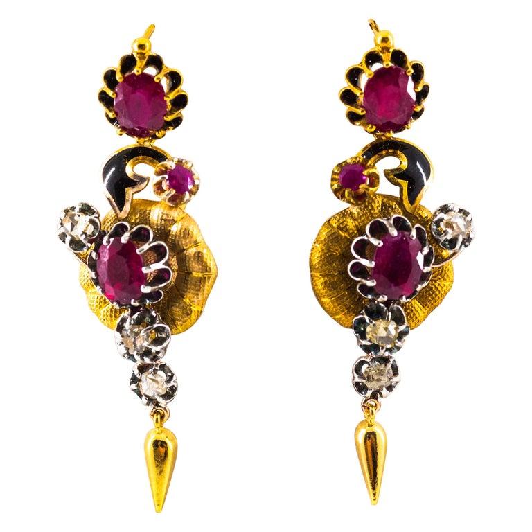 Art Nouveau 4.90 Carat White Rose Cut Diamond Ruby Yellow Gold Flowers Earrings For Sale