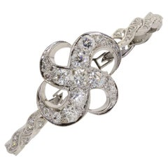 Art Nouveau 4.91 Ctw Diamond 18k White Gold Bracelet