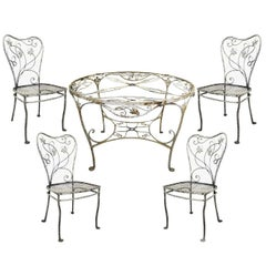 Art Nouveau 5 Pc Wrought Iron Patio Dining Set Round Table 4 Chair Salterini