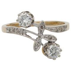 Art Nouveau .50 Carat Diamond You and Me Ring