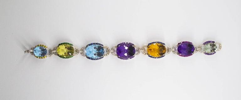 Women's or Men's Art Nouveau 5.80 Carat White Diamond Ruby Sapphire Emerald White Gold Bracelet For Sale