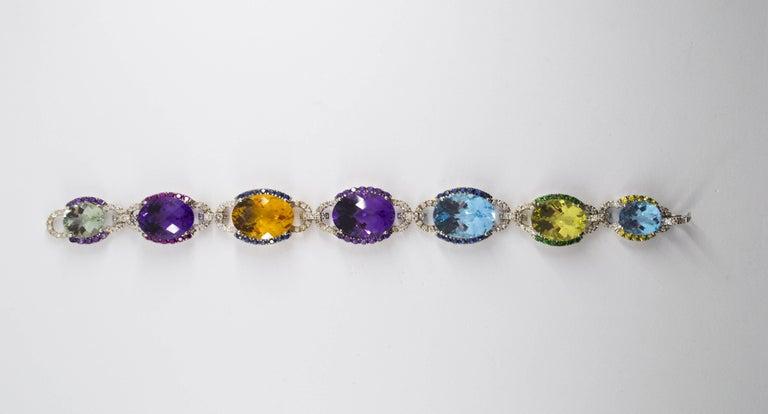 Art Nouveau 5.80 Carat White Diamond Ruby Sapphire Emerald White Gold Bracelet For Sale 1