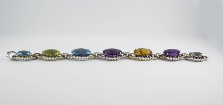Art Nouveau 5.80 Carat White Diamond Ruby Sapphire Emerald White Gold Bracelet For Sale 2