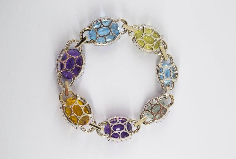 Art Nouveau 5.80 Carat White Diamond Ruby Sapphire Emerald White Gold Bracelet For Sale 3