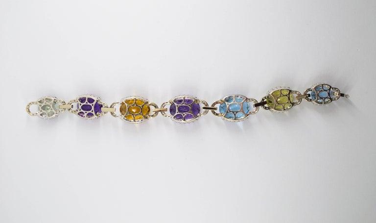 Art Nouveau 5.80 Carat White Diamond Ruby Sapphire Emerald White Gold Bracelet For Sale 4