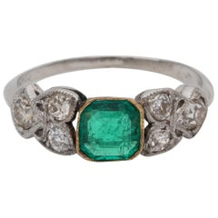 Art Nouveau .60 Carat Colombian Emerald .50 Carat Old Mine Diamond Ring